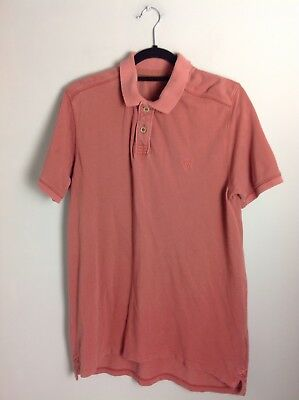 Size M Excellent Condition Authentic Fat Face Polo Shirt In Light Red Cotton
