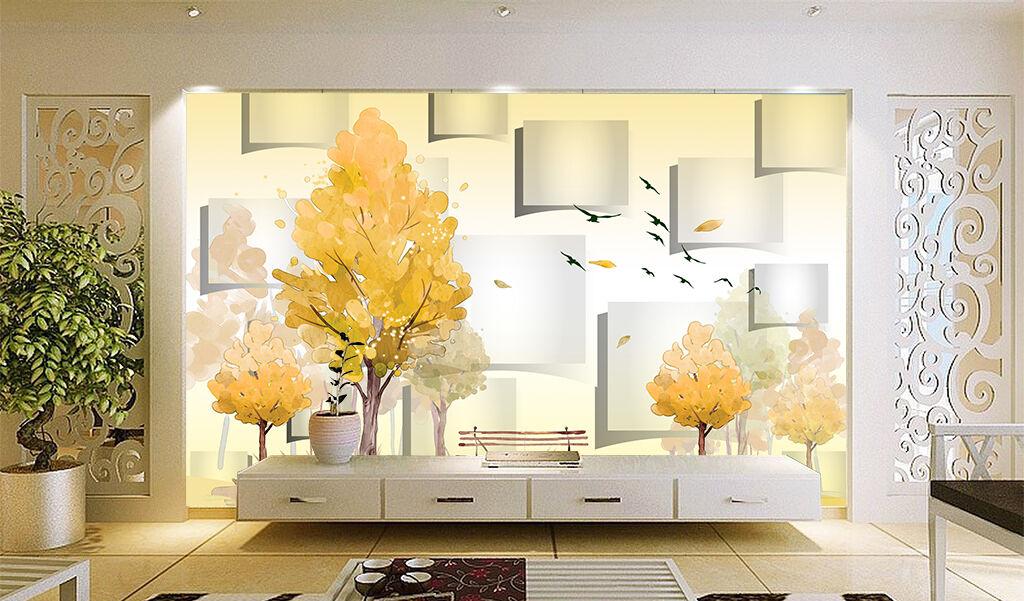 3D Schöne yellowe Bäume 34 Fototapeten Wandbild Bild Tapete Familie Kinder