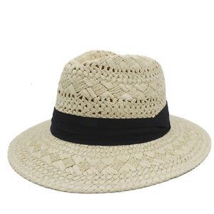 25837e97976 Handwork Women Men Raffia Straw Wide Brim Fedora Hat Queen Beach ...