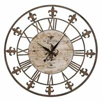 Aspire Home Accents Wrought Iron Fleur De Lis 36 In. Wall Clock, Antique Brown on Sale