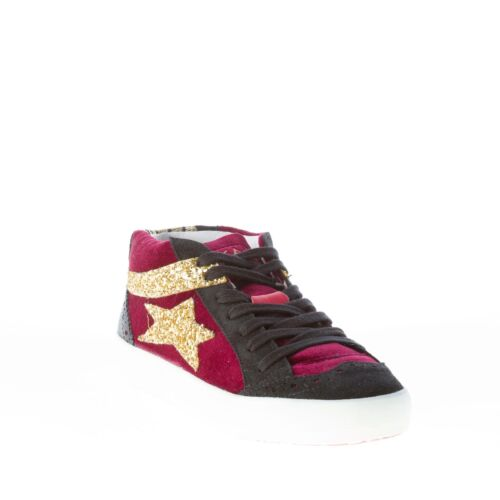 Bordeaux Velvet Mid Sneaker Chaussures And Ishikawa Black Femme Cut Suede vxafB1