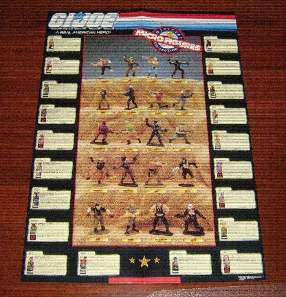 Original 1989 GI JOE MICRO Action Figures Figure Mail Away In File Cards POSTER