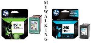 GENUINE-ORIGINAL-2-X-INKS-HP-351XL-COLOUR-amp-HP-350-BLACK-CARTRIDGES-FAST-POSTAGE