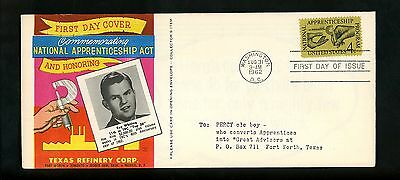 US FDC #1201 Texas Refinery Corp M-21 variety 1962 DC Apprenticeship Act