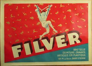 D-039-Ylen-FILVER-French-Art-Deco-1920s-Pierrot-Clown-Suspenders-Advertising-Poster