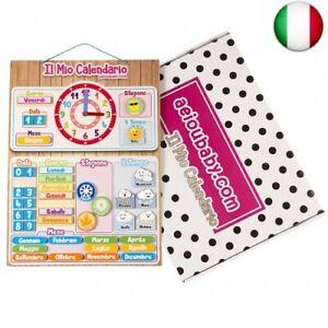 CALENDARIO OROLOGIO magnetico per bambini, Gioco educativo Data Tempo (Italiano)