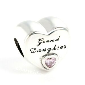 Authentic-Pandora-Charm-796261-Silver-S925-Granddaughter-039-s-Love-Pink-CZ-Bead