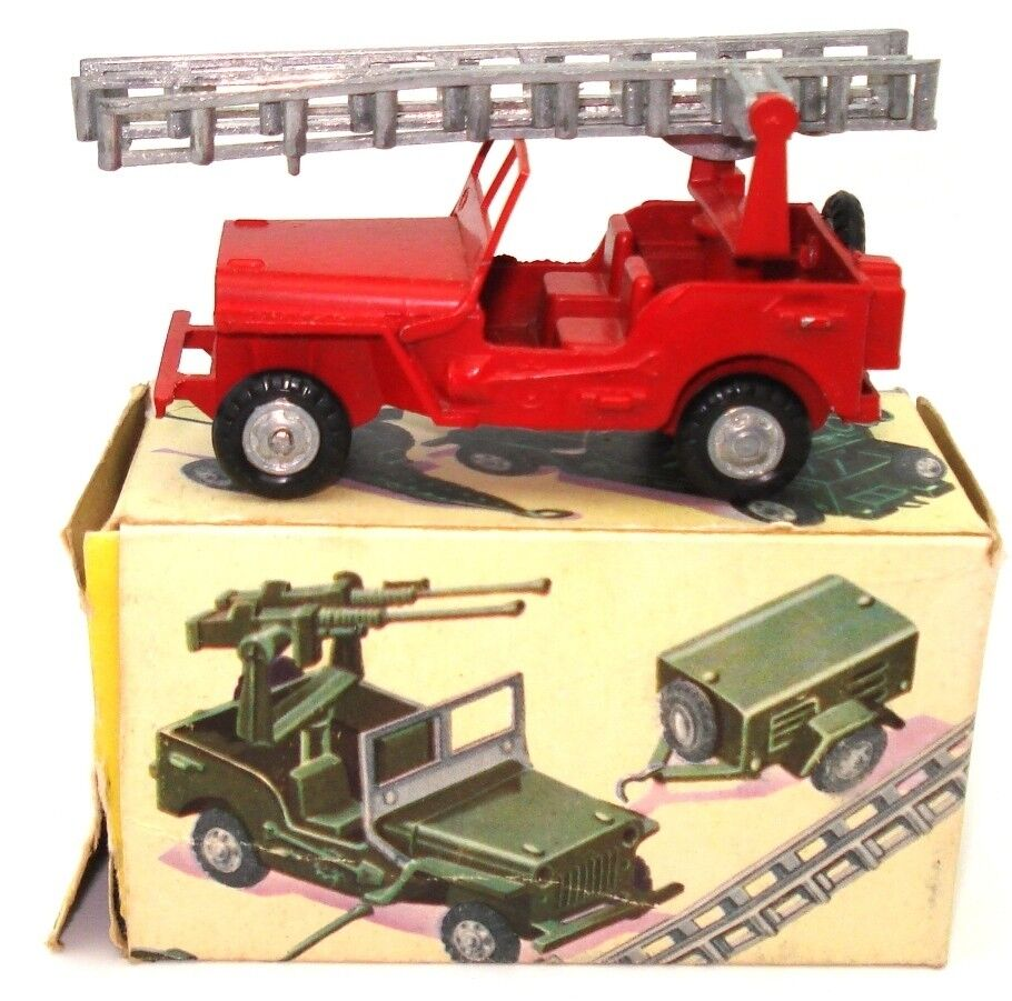 FJ  FRANCE JOUETS WILLYS JEEP POMIERS FIRE DEPT - MINT & BOXED & ULTRA RARE
