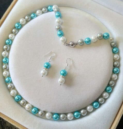 8MM Blue //White South Sea Shell Pearl necklace earrings set AAA Grade  Z01
