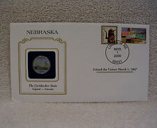 Nebraska Colorized State Quarter Cover w/ Greetings From America Stamp - Painted