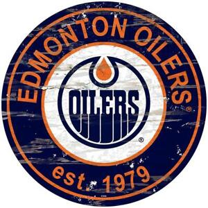 Edmonton Oilers 24 Inch Round Distressed Wooden Wall Sign (New) Canada Preview