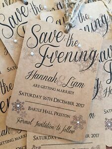 Christmas Save The Date Cards.Details About Wedding Save The Date Cards Christmas Snowflake Kraft Rustic Vintage