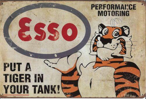 Nuevo Estilo Vintage Retro Letrero de Metal Colgante De Pared Tigre Esso diseño icónico Mancave