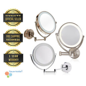 Ovente 9 5 Quot Wall Mounted Makeup 10xmagnifying Mirror 3 Led