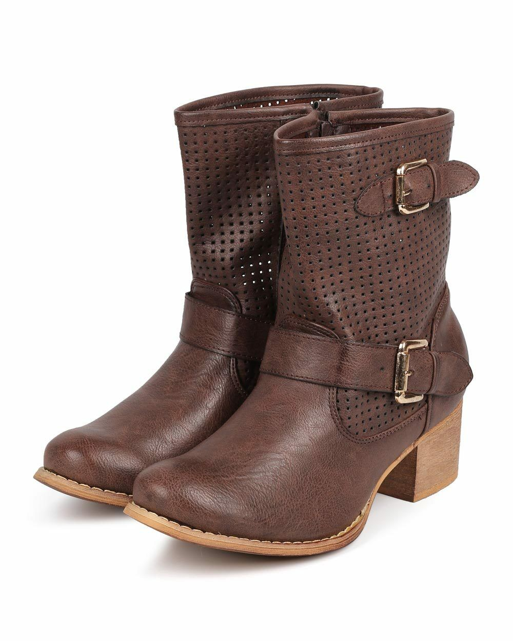 New Women Liliana Norman-3 Hollow Leatherette Round Toe Buckle Strap Riding Boot