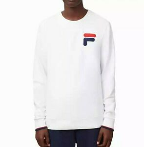 NEW-Fila-Men-039-s-French-Terry-Crew-Neck-Sweatshirt-white-SIZE-L