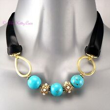 Semi Precious Turquoise Marbles Ethnic Renaissance Arabesque Statement Necklace