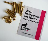 32mm BRASS BINDING POSTS AND SCREWS 10 PK - IDEAL FOR SCRAPBOOKING