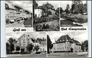 DDR-Ansichtskarte-Thueringen-BAD-LANGENSALZA-ua-Marktstrasse-Klubhaus-uvm