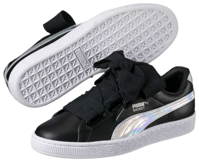 2df4a1e9 PUMA Basket Heart Explosive Wns Black Leather Women Shoes SNEAKERS  363626-01 UK 6