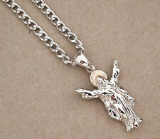 Rose Gold Rhodium Plated Christ Open Arms Redeemer Charm & 24in Cuban Chain Set