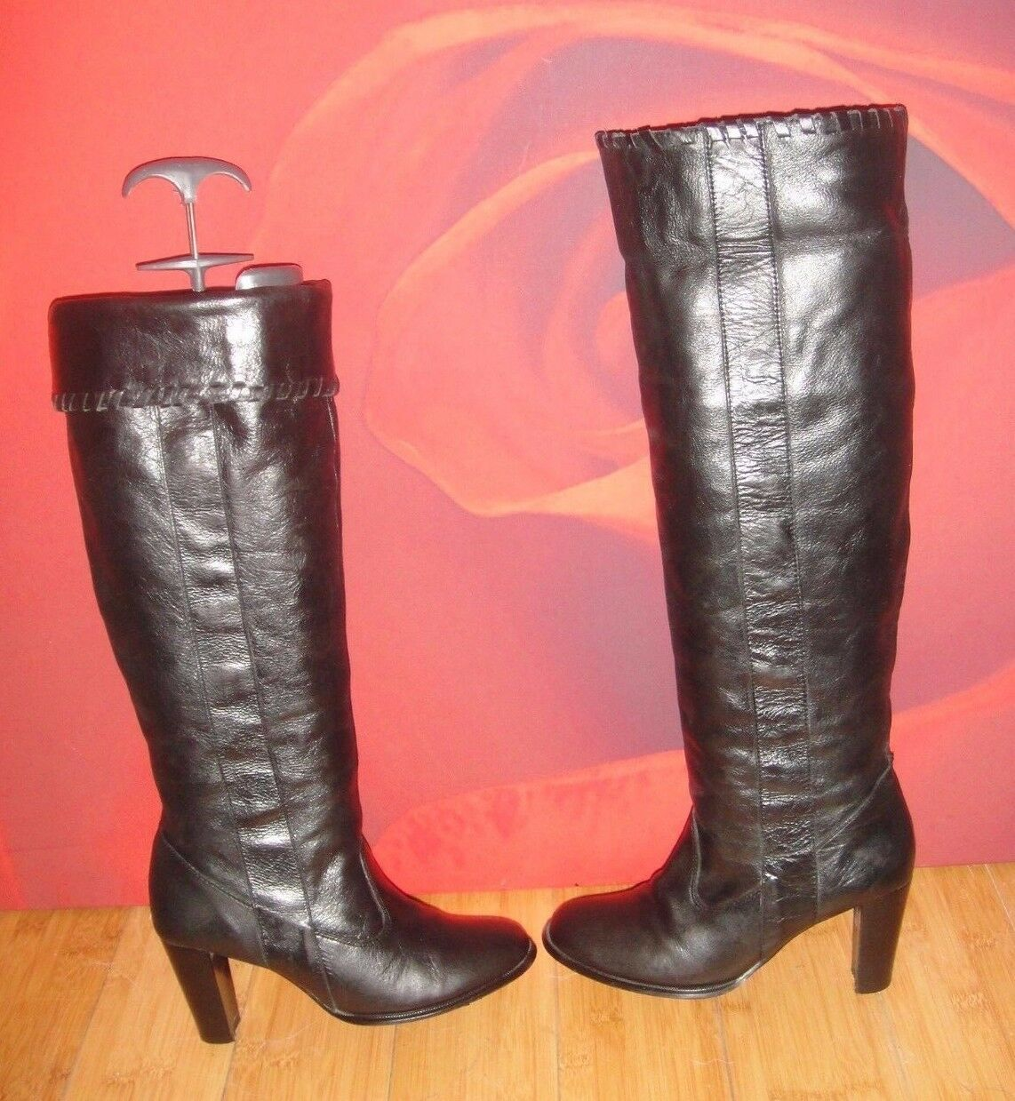 22 Superb STARK 2 Black Leather knee heel  Boots UK 3