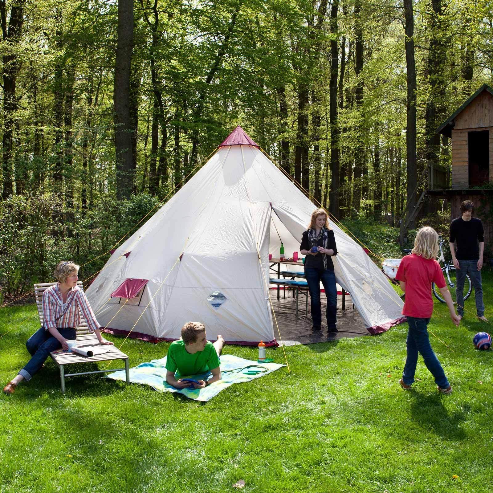 SKANDIKA tipi 300 WIGWAN Tente indianerzelt 12 Personnes Hauteur 3 m Beige NEUF
