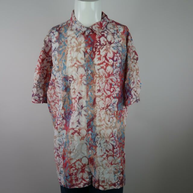 Rum Reggae Multicolor Short Sleeve Button Front Floral Casual Shirt Mens 2X