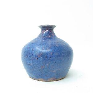 Mid-Century-Vintage-1974-Signed-Studio-Art-Pottery-Pot-Weed-Vase-Blue-Rose