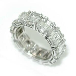 3-95-Carats-Round-amp-Baguette-Cut-Diamonds-Eternity-Band-Ring-In-14k-White-Gold