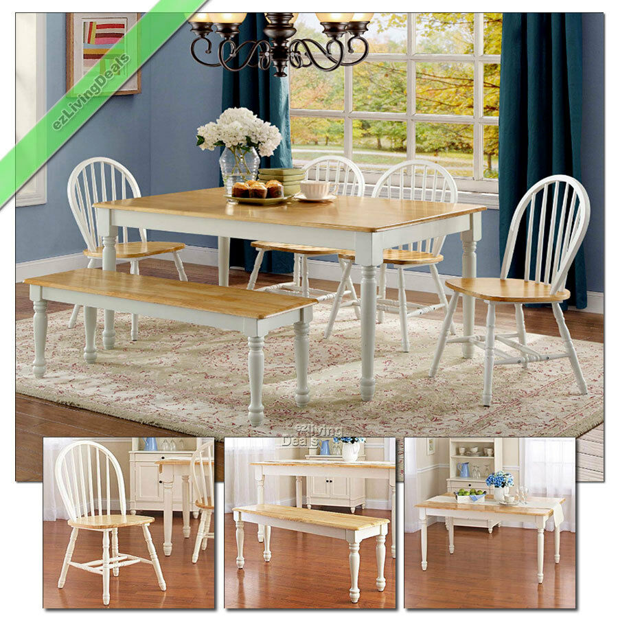Details About 6 Pc Dining Set Farmhouse Wood Table Bench Chairs Country Room Kitchen White Oak