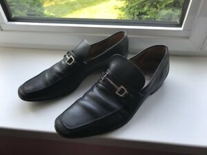 17460abdd7d41e GUCCI Vintage Mens 9 Black Leather Loafers Dress Casual Shoes Horse ...