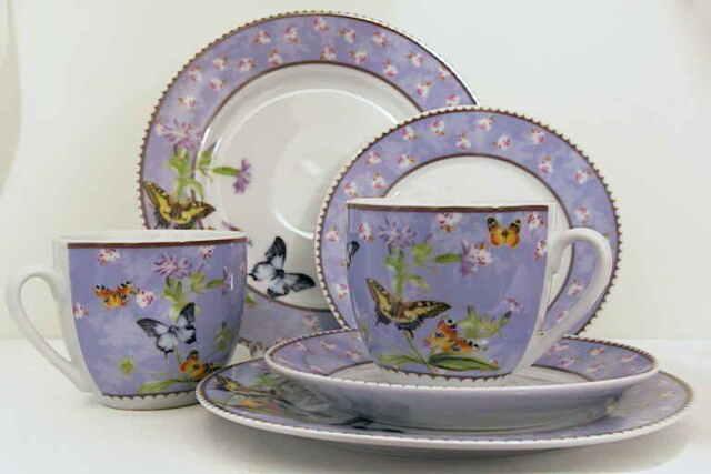 6tlg. Set Kaffeetasse Unter- u. Kuchenteller Papillion Schmetterling Blumen lila