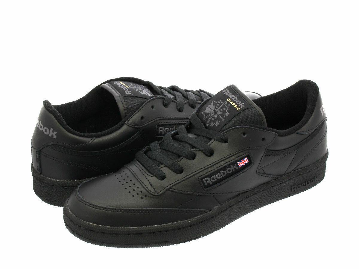 reebok club c leather trainers in black ar0454