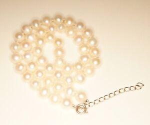 7.5 Mm Genuine Blanc Perle Strand Collier Argent Sterling Fermoir-afficher Le Titre D'origine Bon Pour L'éNergie Et La Rate
