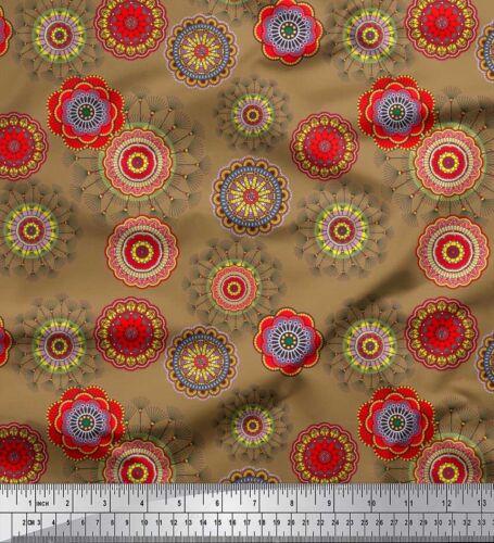 Soimoi Fabric Artistic Flower Mandala Printed Fabric 1 Meter MD-541B