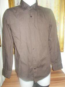 Chemise-coton-marron-dessin-petits-strass-dore-LEVIS-M-38-40-manches-longues