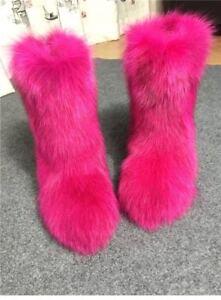 Woman Sexy Hot Pink Genuine Fox Fur