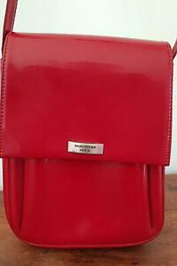 Détails sur VINTAGE, SAC en bandoulière cuir, marque PAQUETAGE rouge bordeaux Très bel état