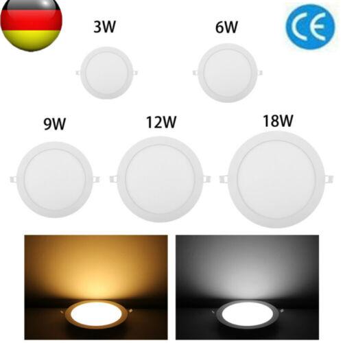 LED Panel LeuchteUltraslim Einbaustrahler Dimmbar Deckenleuchte—3W 6W 9W 12W 18W