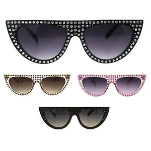 8c3d2da5344 Rhinestone Bling Iced Out Cat Eye Narrow Goth Plastic Sunglasses