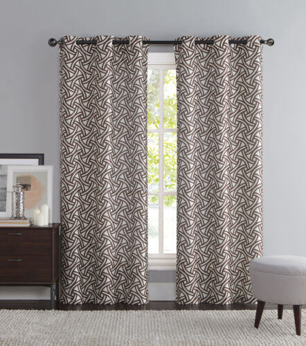 iKat Geometric Design Grommets Brown and Ivory Two Piece Window Curtain Panels