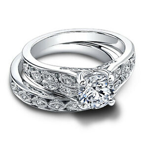 1.12 Ct Round Moissanite Engagement Superb Band Set Solid 18K White Gold Size 7