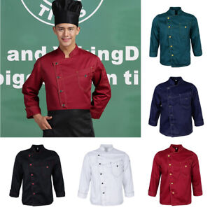 Details About Women Men Stitched Chef Jacket Coat Kitchen Uniform Long Sleeves Work Shirt