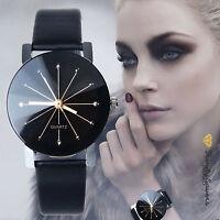 Luxury Women's Leather Stainless Steel Date Sport Dial Quartz Analog Wrist Watch