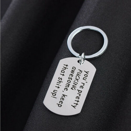 Creative Lettering You/'re Awesome Funny For Him Keyring Gift Trinkets QK