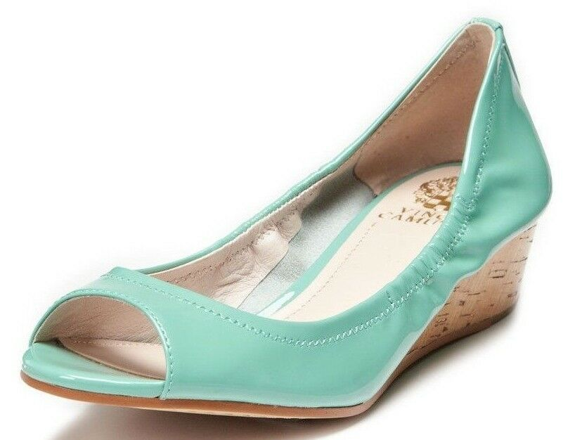 Vince Camuto Damens Ryssa Patent Leder Wedge Schuhes Peep Toe Mint Green 7.5M
