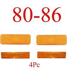 80 86 Ford 4Pc Amber Front Parking Light & Side Fender Light Set, Truck & Bronco