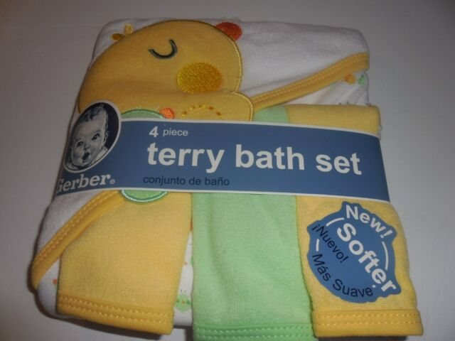 83f9ff435f68 Gerber Baby Terry Hooded 4-piece Bath Clothes Gift Set Wrap Towel ...