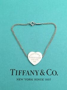 """0c0e080ac3a24 Details about Tiffany & Co Silver Return To Tiffany Double Chain Heart Tag  Bracelet 6.25"""""""